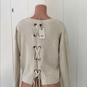 lucky Brand tie Back sweater. NWT